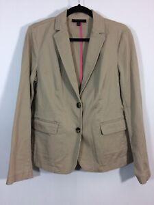 TALBOTS Blazer Women Size 10 Tan Button Front Career Jacket