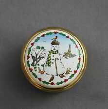 Halcyon Days Enamels Snowman Small Pill Box Twist Top Holiday Winter Scene Red