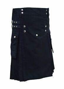 Men's Black Fashion Sport Utility Kilt Deluxe Kilt Adjustable Sizes Pocket kilt