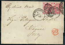 Victoria pair of 3d rose plate 7 (SG#103) on wrapper Dewsbury to Venice
