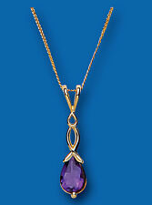 Amethyst pendant Amethyst Necklace Yellow Gold Amethyst Pendant Natural Amethyst