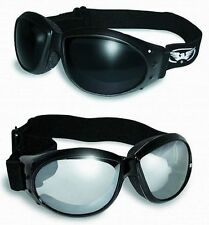 2 Motorcycle Riding Padded Goggles-Sun Glasses-SUPER DARK & CLEAR MIRROR Lenses
