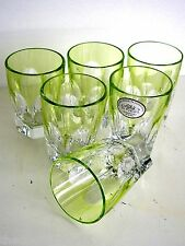 AJKA LAUSANNE LIME CASED CUT TO CLEAR CRYSTAL SHOT CORDIALS Set of 6