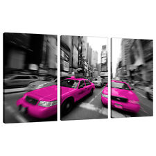 3 Panel Pink Wall Art Canvas Black White Pictures New York Cities 3026