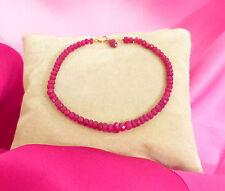 "ruby gemstone bracelet solid 14k gold 7"" 18cm knotted pigeon blood red"