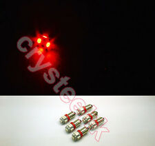 6 PCS BA9S 5 X 5050 SMD LED Red Super Bright Car Side Lights Lamp Bulb DC 12V