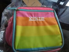 Pottery Barn Kids Fairfax Pink rainbow aqua trim Lunch Bag mono Kenzie New