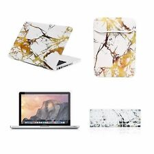 "4 IN 1 White/Gold Marble Case for Macbook Pro 13"" A1278+Keyboard Skin+ LCD+ Bag"