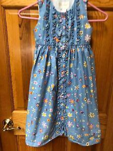 Strasburg Boutique Flower Dress Girls Sz 5 Years Blue Purple Ruffle Sleeveless