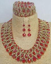 Beautiful Pink Bib Choker Chunky Glass Beaded Necklace, Bracelet, Earrings set