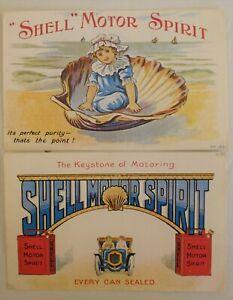 Two repro Shell Motor Spirit Advertising Cards