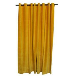 Yellow 108 inch Long Cotton Velvet Curtain Panel w/Grommet Eyelet Studio Drapery