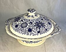 VINTAGE MASONS BELL BOWS BLUE FLORAL SCROLLS FOOTED SERVING / CASSEROLE DISH LID