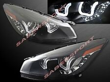 PAIR U SHAPE HALO PROJECTOR HEADLIGHTS (HALOGEN) BLACK FOR 2013-2015 FORD ESCAPE