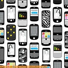 Windham  Smart Phone Text Me Cell Cellular Phones 100% cotton fabric by the yard