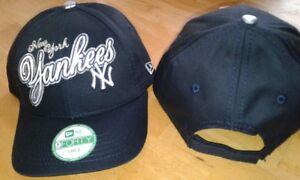 New York Yankees Satin Script New Era 9FORTY Adj Cap-Toddler,Child&Youth Sizes