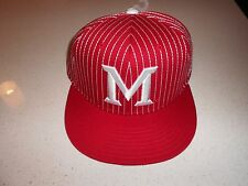 ADULT MIAMI REDHAWKS PIN STRIPED NCAA ADIDAS ADJUSTABLE CAP - NWT