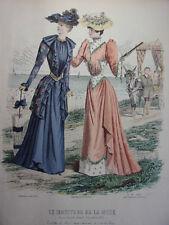 """43/ GRAVURE DE MODE """" Moniteur de la Mode Paris 1891 """".   Grand format 36x26"""