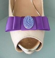 2 Purple Bow Clips for Shoes with Two Tone Oval Button Centre