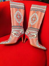 New Designers Italian Roberto Botticelli Boots Canvas Piton Hill Sz 38