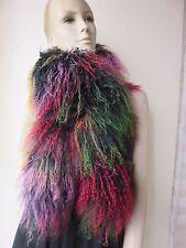 Elegant Fashion hand-made real mongolian Lamb fur overlength scarf/cape colorful