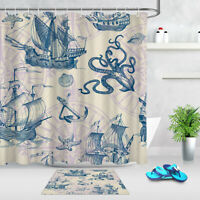 "Goldfish Diving Cat Shower Curtain Hooks Bathroom Mat Waterpoof Fabric 72x72/"""