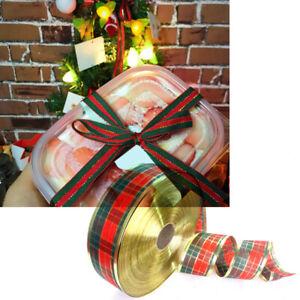 1 Roll Scottish Plaid Christmas Ribbon Wreath Present Ribbon Gift Wrapping