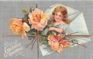 H66/ Valentine's Day Love Holiday Postcard c1910 Pretty Girl Flowers 3