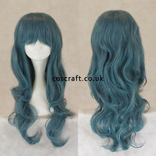 Long wavy curly cosplay wig with fringe in blue-grey, UK SELLER Charlie style