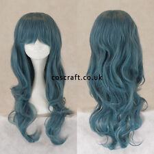 Long ondulé bouclés cosplay perruque avec frange de couleur bleu-gris, vendeur britannique style Charlie