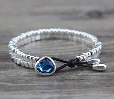 Handmade Uno STYLE De Único 50's Real Leather Bracelet BLUE (81)