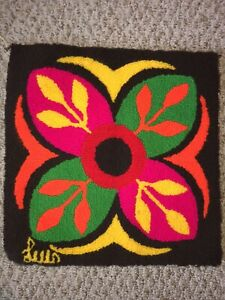 Rare!  Vintage Luis Montiel Tapestry, Colorful Flower Pillow Cover 16x16
