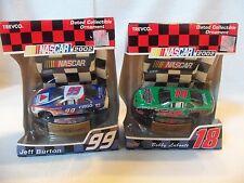 NASCAR Lot of 2 Race Car Ornaments #99 Jeff Burton #18 Bobby Labonte New Boxed