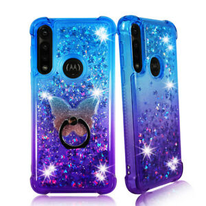 For Moto G Power (2020) Liquid Glitter Bling TPU Bumper Case Cover w Phone Ring