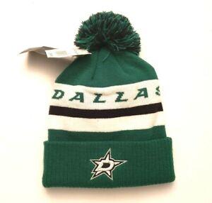 Dallas Stars NHL Adidas Cuffed Knit Pom Beanie Cap Green/White/Black OSFM