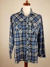 De Colección Azul a Cuadros Camisa De Franela Patinadora Hipster Grunge Indie-XL-EY36
