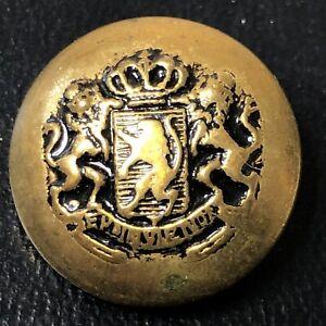 Vintage Europe Gold tone metal Crown shield coat of arms Lion Emainvienoi Button