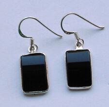 Onyx Ohrringe in 925 Sterlingsilber, schwarze Edelstein Ohrhänger in Silber
