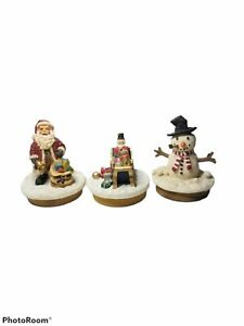Christmas Candle Toppers Santa Claus Snowman Toy Soldier Holiday Vtg Our America
