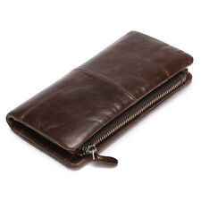 Men's Vintage Genuine Leather Long Bifold Wallet Money Card Holder Clutch Purse