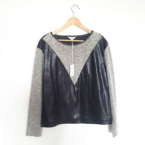 August Womens Size 10 Black & White Patent Knit Blend Long Sleeve Top