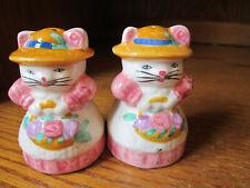 "Salt and Pepper Shakers Set Cat Kitten Hats Basket Flowers 3"" Tall Excellent"