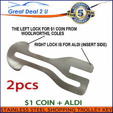Universal Removable Shopping Trolley Key $1 Coin Slot ALDI WOOLWORTHS COLES 2PCS
