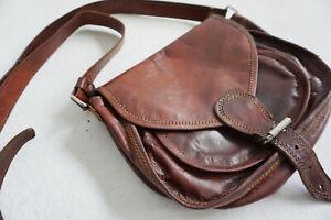 Gusti Damenhandtasche Evelyn, Vintage braun Leder, Umhängetasche
