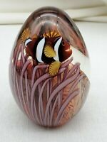 ESTATE ORIENT & FLUME CLOWN FISH  ART GLASS AQUARIUM PAPERWEIGHT SIGNED NUMBERED