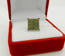 -One- 925 Sterling Silver Green Diamonds Stud Square Single Earring