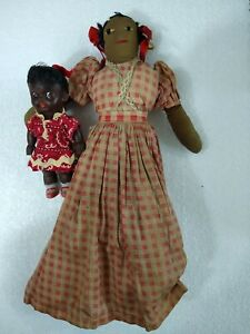 Vintage African American Folk Art Doll & Plastic Carnival Prize Doll