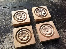 x4 Carved Rosette Wood Block Raw 9.2 cm x 9.2 cm #1, 8 petals/pointy