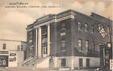 1930's Store & Municipal Building Lynbrook LI NY postcard Coca-Cola & 7-Up signs