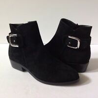 Catherine Malandrino Bucky Women's Black Leather Suede Ankle side Zip Boot Sz 6